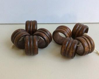 Set of 4 Vintage Wooden Napkin Rings