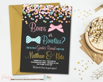 Gender Reveal Invitation, Bows or Bowties, Confetti Baby Shower Invitation, Baby Shower Invitation, Gender Reveal Party, Confetti Invitation