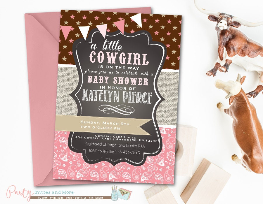 cowgirl baby shower invitation paisley baby shower