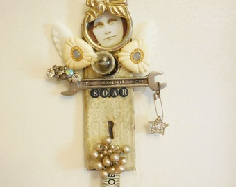 30th Birthday Gift OR Artdoll, Original Mixed Media Assemblage, Guardian Angel,  Altered Art Doll