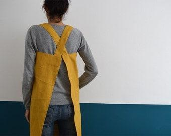 CLEARANCE LAST UNITS. Japanese Apron Yellow Mustard Linen. Japanese pinafore cross back. Linen pinafore. Smock. Yellow apron. Natural smock