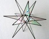 Lg. Stained Glass Star, 11 inch, Hanging Suncatcher, Clear Iridescent Glass Star, Geometric Modern Star, Hollow Star, Gift, Award,