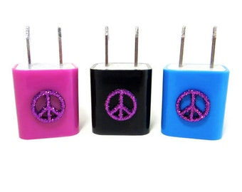 Peace, Love + Charge USB Wall Adapter - iPhone Cube Converter - Apple USB Wall Charger - Android Power Adapter - Glitter Peace Sign Adapter