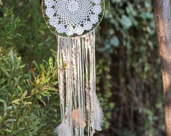 Large Neutral Dream Catcher with Feathers