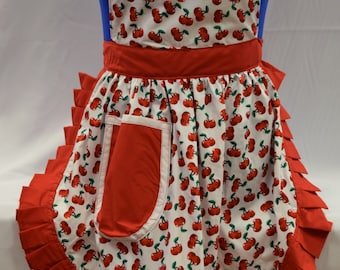 Retro Vintage 50s Style Full Apron / Pinny - White & Red - Cherries (Cherry)