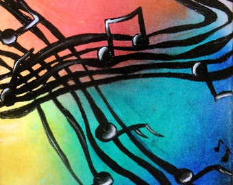 Music is the Voice of the Soul Part 2 Print of Original Oil Painting by Lindsey - Tryptic Painting