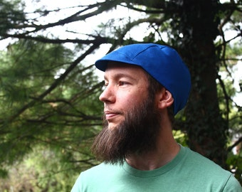Blue Linen Cycling Cap, Men's and Women's, Lightweight Cap, Men's Cap, Summer, Fall, Bike Hat