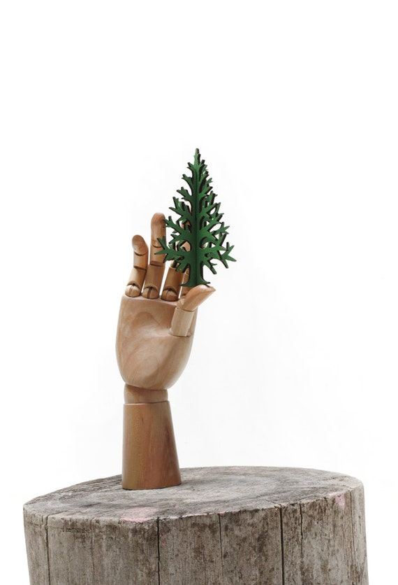 15 cm / 5,9 in pocket-sized christmas tree, postcard size laser-cut recycled plywood tabletop tree