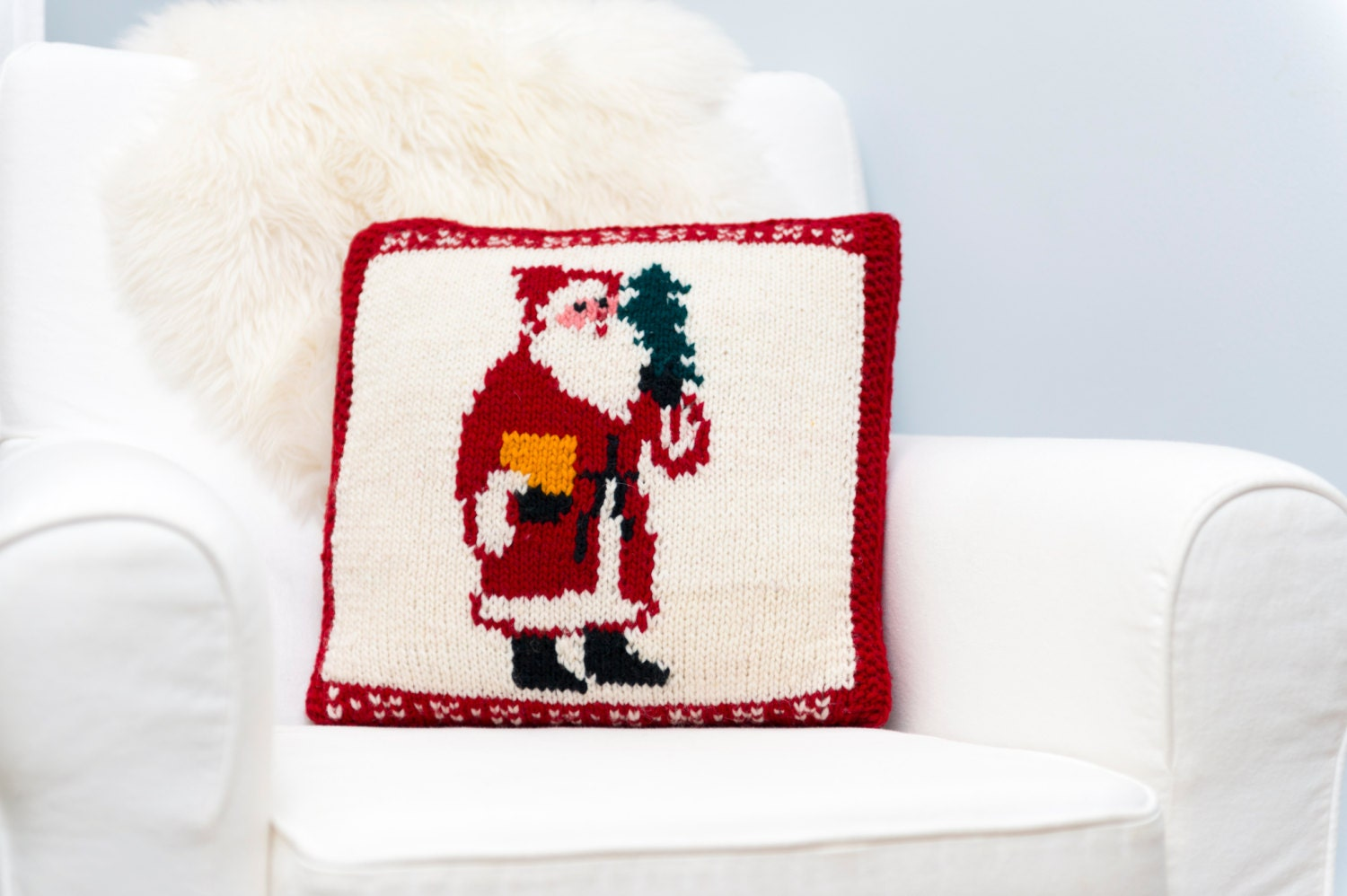 Christmas Pillow Cover 16X16 Traditional Santa Hand Knit