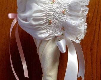 Dainty Hand-Smocked Baby Bonnet