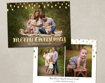 Christmas Card Template -  Photoshop template 5x7 flat card - Gold Merry Christmas CC112 - INSTANT DOWNLOAD