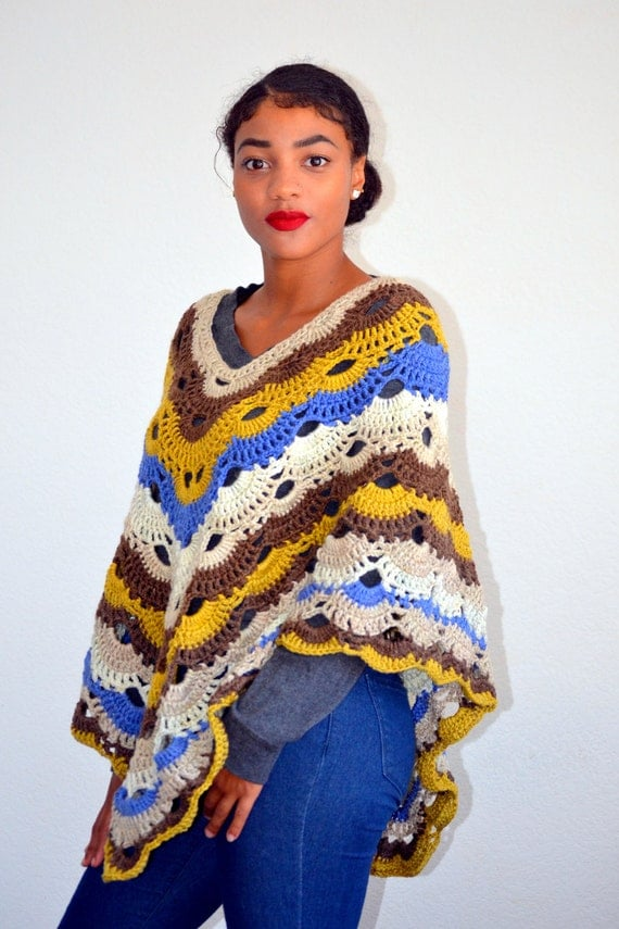 Virus Poncho/ Crochet Virus Poncho/ High Fashion Shawl Poncho/ Crochet ...