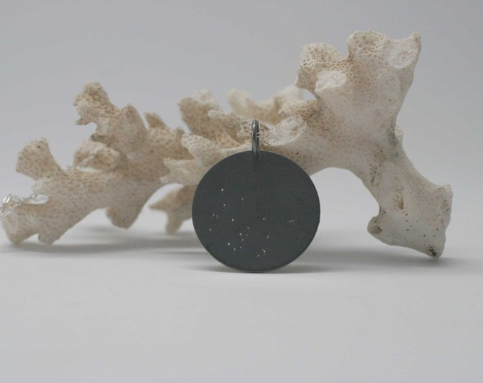 oxidized black sterling silver disc pendant with silver accents - wild grace jewelry