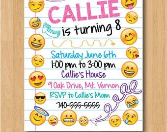 Emoji Emoticon Birthday Invitation - Printable/Digital File