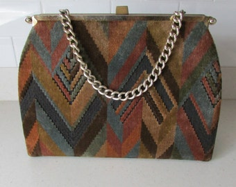 Large Handbag Western Inspired Fabric Pocketbook with Chunky Chain Convertible Handbag By L & M Velvet Aztec Handbag