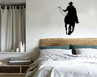 Horse- Rodeo, Roping, Horse Roping Decal, Roping Decal, Rodeo Decal, Cowboy, Cowboy Decal, Horse sticker-Horse decal, 27 inches x 42 inches.
