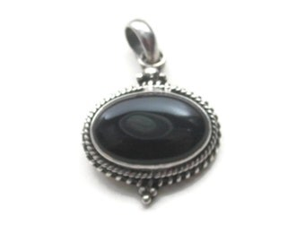 Onyx Pendant Charm Sterling Silver Rope and Bead Detail for Necklace Vintage (AB#72)