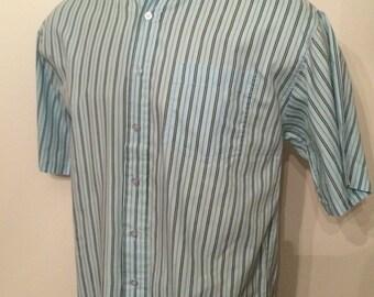 Vintage MENS 1980s Ironwood Trading Company black & blue striped short sleeve shirt, size M