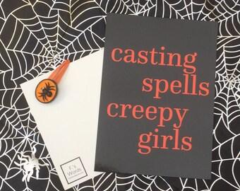Halloween /Friday 13th Art | Casting Spells Creepy Girls Creepy Cute Pastel Goth Card Art Gift Postcard Print | Free UK Postage