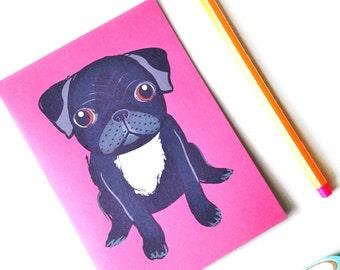 Black Pug Card, pug gift, blank card
