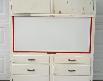 866 Kitchen Hoosier Cabinet With Flour Sifter Utensil Tray Porcelain