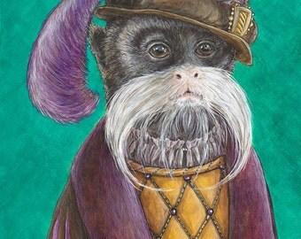 Emperor's Haberdasher portrait Emperor Tamarin monkey Renaissance animal mustache purple green black white