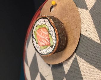 CLEARANCE - Sushi roll wooden button