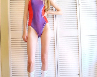 Vintage 1970's/80's Rainbow Red and Purple One Piece Halter Tie Swimsuit Size X-Small/ Small