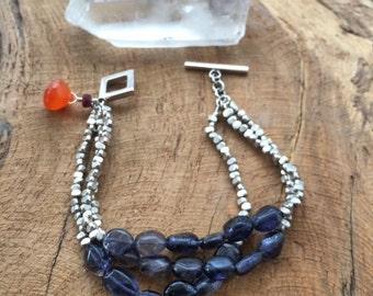 Blue Iolite Bracelet | Sterling Silver Bracelet | Three Strand Bracelet | Gemstone Bracelet
