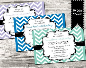 19 Color Choices Chevron Birthday Invitation Any Age with free Thank You