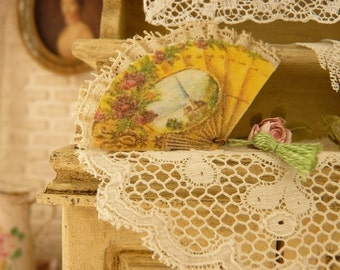 Miniature Victorian yellow fan, Pink roses, 19th century, French boudoir, Decorative accessory for a French miniature house in 1:12th scale