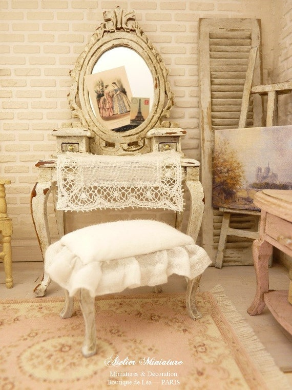 miniature shabby chic french vanity and stool distressed. Black Bedroom Furniture Sets. Home Design Ideas