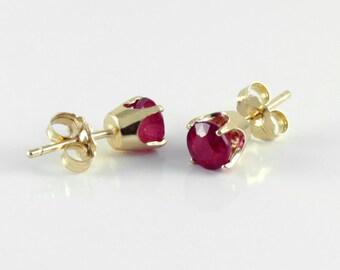Natural Ruby Earrings 14K Gold July Birthstone / Red Ruby SOLID GOLD Stud Earrings