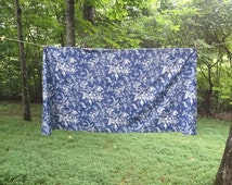 1980s Vintage Roman Shade & Coordinating Lined Valance in Blue and White Floral Fabric, Use For Window Treatment, Upcycle to Pillows, Dress
