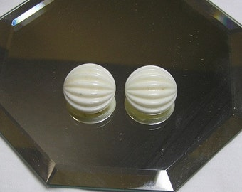 1940s Vintage Set of 2 Ivory Glass Molded 1 Inch Buttons, Shank Style with Dome and Ridges, Vintage Buttons, Home Sewing Buttons, Crafts