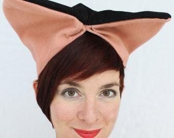SALE / In-Stock: Vintage-Style WWII Two-Tone Felt Turban in Pink and Black