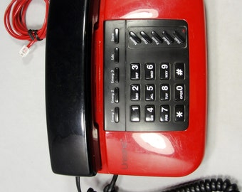 Vintage 1980s Unisonic Telephone Phone Red Black Art Deco Push Button Works Great