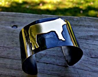 Show Steer Cuff, Metal Cow Bracelet, Cow Jewelry, Mixed Metal Bracelet, FFA Jewelry, Rustic Metal Bracelet, Cowgirl Jewelry, Cow Girl, Steer