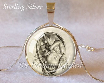 STERLING MIDWIFE Pendant Midwife Gift Da Vinci Fetus Necklace Sterling Silver OBGYN Gift Pregnant Mom Birthing Necklace Fetus Pendant