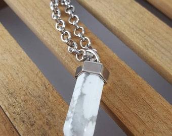 Howlite - Raw Crystal Jewelry - Gemstone Jewerly - Silver Necklace - Boho Jewelry - Hippie Jewelry - Hipster Jewelry