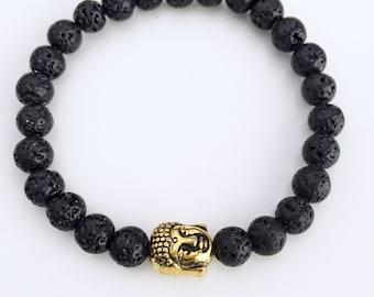 Lava Stone Buddha Bracelet,Black Buddha Bracelet,Mala Bracelet,Buddha Bead Bracelet,Wrist Mala,Black Lava Bracelet,Healing,Yoga bracelet,BBL