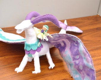 Felt Dragon and Fairy Doll - purple dragon, waldorf dragon toy, plush dragon, stuffed dragon toy, dragon plushie, felt waldorf toy