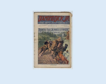 Victorian Antique Periodical Newspaper Magazine - The Boys Best Weekly - Diamond Dick Jr Fools A Forger - Published Jan 8 -1898