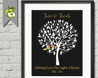 Personalised 50th Anniversary Gift Idea, GOLDEN Wedding Anniversary Print, Tree, Love Birds, Anniversary Poster, Printable, tree art.