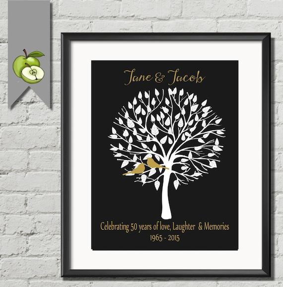 Personalised 50th Wedding Anniversary Gift : Personalised 50th Anniversary Gift Idea, GOLDEN Wedding Anniversary ...