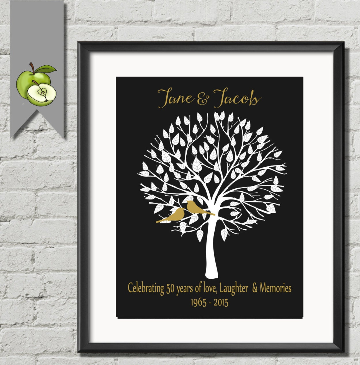 Golden Wedding Anniversary Gifts For Parents Uk : Personalised 50th Anniversary Gift Idea GOLDEN Wedding