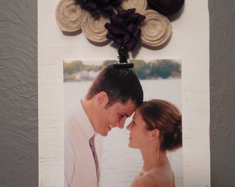 Wood Photo Holder with flowers
