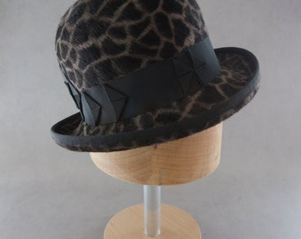 Women's Bowler Hat. Designer Millinery Giraffe Print Fur Felt Hat. Ladies Derby Hat w/ Origami Ribbon. Steampunk Bowler. Long Hair Beaver.