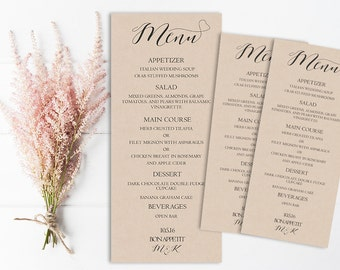 Rustic Wedding Menu, Printable Wedding Menu, Kraft Wedding Menu, Template, Digital Wedding menu,PDF, Vintage, DIY, Reception Menu, Rustic