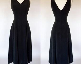 1990s slate gray, grey, silk dress, sleeveless, fit and flare, Barry Bricken, XS